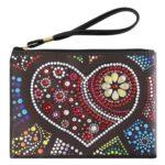 DIY Heart Special Shaped Diamond Painting Women Wristlet Bag Zipper Wallet