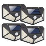 4pcs 100LED Solar Motion Sensor Wall Light Waterproof Garden Security Lamp