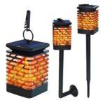 Retro Solar LED Flame Light Rhombus Pattern Waterproof Outdoor Clip Lamp