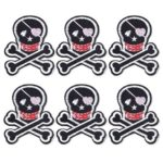 6pcs Clothes Patch Skull Head Back Glue Paste DIY Sticker Kid Sewing (Pink)