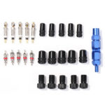 26pcs/set Bicycle Tire Schrader Presta Valve Cores Caps Adapters w/ Remover