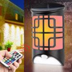 Solar RGB LED Wall Lamp Waterproof Remote Control Body Sensor Light Outdoor