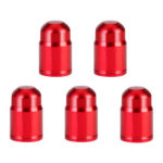 5pcs Aluminum Bike Schrader Valve Caps Tyre Tire Valve Dust Covers (Red)