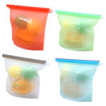 4pcs/set Silicone Sealed Food Storage Container Reusable 1000mL Fresh Bag