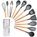 11pcs Silicone Kitchenware Set Wood Handle Non-stick Kitchen Cooking Tools