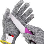 1 Pair Cut Resistant Gloves Food Grade Level 5 Protection Yellow Trim (XXS)