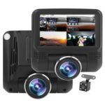T3 Car DVR Camera 360 Rotatable Fisheye Lens Dash Cam with Rear View Camera