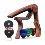 Guitar Capo Pick Holder with 6 Picks Set Musical Instrument Part (Rosewood)