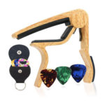 Guitar Capo Pick Holder with 6 Guitar Pick Musical Instrument Parts (Camel)