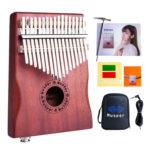 17 Keys EQ Kalimba Mahogany Thumb Piano Pickup with Audio Cable+Bag Musical
