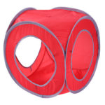 Square Cat Tunnel Tube Collapsible Interactive Bucket Small Pet Toy (Red)