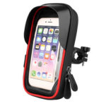 Bicycle Phone Holder Bag Waterproof MTB Handlebar Touch Screen Bag (Red)