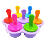 Silicone Ice Pops Mold 7-hole Popsicle Cake Maker DIY Baking Tool (Purple)