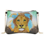 DIY Lion Special Shaped Diamond Painting Women Leather Chain Crossbody Bags
