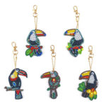 5pcs DIY Full Drill Special Shape Diamond Painting Bird Keychain Embroidery