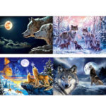 5D DIY Full Drill Diamond Painting Wolves Cross Stitch Embroidery Craft (A)