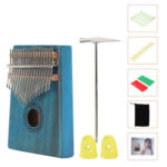 17 Keys Mahogany Kalimba Fingers Thumb Piano with Tuning Hammer (Blue)
