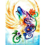 5D DIY Full Drill Diamond Painting Wolf with Wings Cross Stitch Mosaic Kit