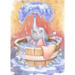 5D DIY Full Drill Diamond Painting Cute Elephant Cross Stitch Mosaic Kit