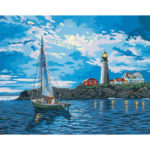 5D DIY Full Drill Diamond Painting Cartoon Sailboat Cross Stitch Embroidery