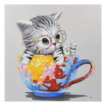 5D DIY Full Drill Diamond Painting Cup Cat Cross Stitch Embroidery Ornament