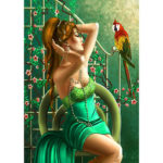 5D DIY Full Drill Diamond Painting Girl and Parrot Embroidery Mosaic Kit