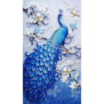 5D DIY Full Drill Diamond Painting Blue Peafowl Cross Stitch Embroidery Kit