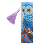 DIY Special Shape Diamond Painting Leather Owl Bookmark with Tassel Crafts