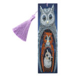 DIY Special Shape Diamond Painting Leather Bookmark Tassel Owl Embroidery