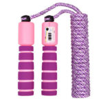 Jump Rope with Counter Adjustable Sports Fitness Skipping Rope (Red+Purple)