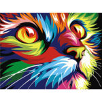 Painting By Numbers Kit DIY Colorful Cat Hand Painted Canvas Oil Art Decor