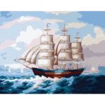 Painting By Numbers DIY Sailing Ship Hand Painted Canvas Oil Art Picture