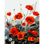 Painting By Numbers Kit DIY Red Flowers Hand Painted Canvas Oil Art Picture