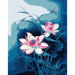 Painting By Numbers Kit DIY Lotus Hand Painted Canvas Oil Art Picture Decor