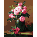 Painting By Numbers DIY Chinese Rose Hand Painted Canvas Oil Art Picture