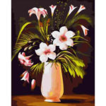 Painting By Numbers DIY Flowers Vase Hand Painted Canvas Oil Picture Decor