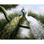 Painting By Numbers DIY Peafowl Love Hand Painted Canvas Oil Art Picture