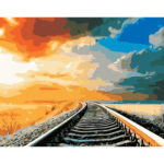 Painting By Numbers Kit DIY Sky Railway Hand Painted Canvas Oil Art Picture