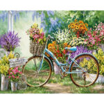 Frameless Painting By Numbers DIY Bicycle Hand Painted Canvas Oil Picture