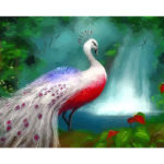 Frameless Painting By Numbers DIY Peafowl Hand Painted Canvas Oil Picture