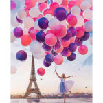 Frameless Painting By Numbers DIY Romantic Balloon Hand Painted Oil Picture