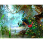 Frameless Painting By Numbers DIY Forest Peafowl Hand Painted Oil Picture
