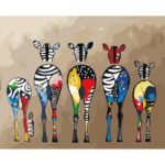 Painting By Numbers DIY Color Zebra Hand Painted Canvas Oil Picture Artwork