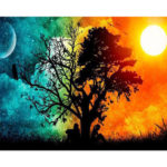 Painting By Numbers DIY Day Night Sky Hand Painted Canvas Oil Art Picture