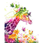 Frameless Painting By Numbers DIY Giraffe Hand Painted Canvas Oil Picture