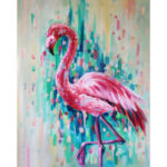 Frameless Painting By Numbers DIY Pink Bird Hand Painted Canvas Oil Picture