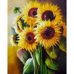 Painting By Numbers Kit DIY Sun Flowers Hand Painted Canvas Oil Art Picture
