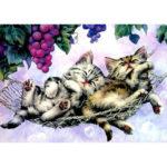 5D DIY Full Drill Diamond Painting Sleeping Cat Cross Stitch Embroidery Kit