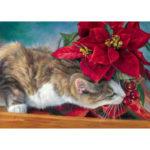 5D DIY Full Drill Diamond Painting Cat Flower Cross Stitch Embroidery Craft