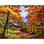 Painting By Numbers Kit DIY Trees House Hand Painted Canvas Oil Art Picture